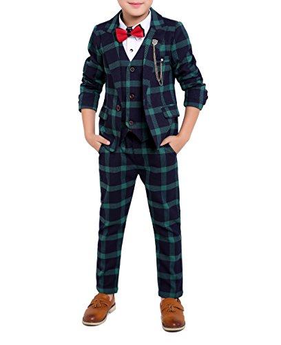 YUFAN Boys Plaid Suits Vest /& Pants /& Shirt 3 Pieces Single Notch Lapel Asymmetric Design