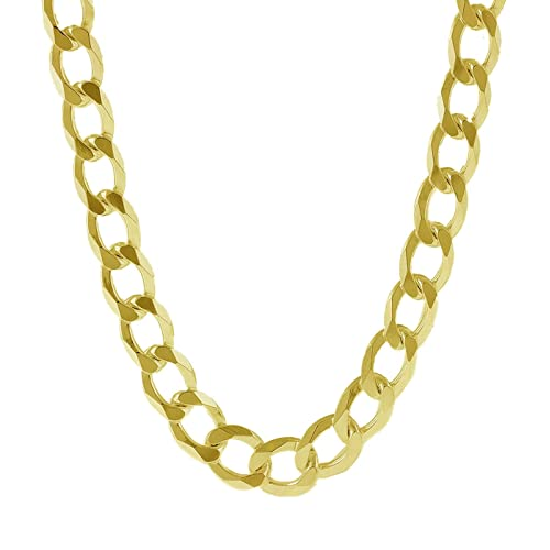 ac660bc1e0aaf Pori Jewelers 10K Yellow Gold 7.5MM Thick Curb/Cuban Chain Necklace-Made in  Italy