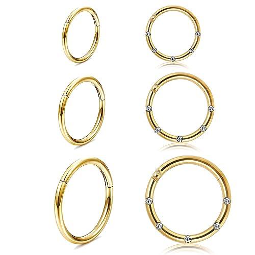 230baf913495c Buy Thunaraz 6Pairs Stainless Steel 16g Cartilage Hoop Earrings for ...