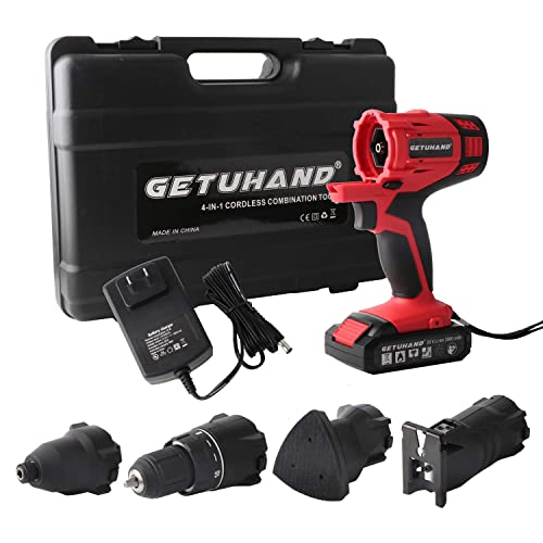 20V Lithium Ion Power Tools Combo Kit GETUHAND Cordless Tools Combo Kit with Case 4-IN-1 Tool-3//8 Cordless Drill//Driver,1//4 Impact Driver Jigsaw and Detail Sander