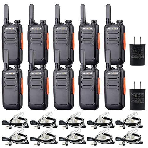 Retevis RT69 Two-Way Radios Long Range Rechargeable FRS 16 CH Channel Lock VOX Flashlight 2 Way Radios Walkie Talkies Adults with Earpieces 10 Pack