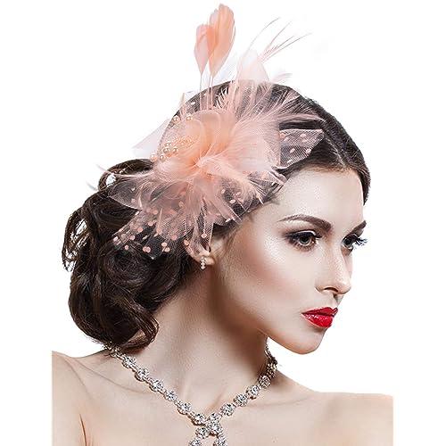 Zoestar Tea Party Fascinators /Flower Mesh Hair Clip and Headband Feather Fascinator Top Hat/for Women Beige