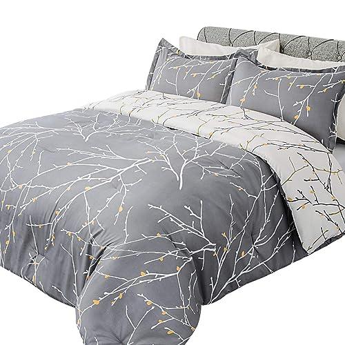 Bedsure Duvet Cover Set Grey//Ivory Printed Soft for Comforter Queen Pillow Shams