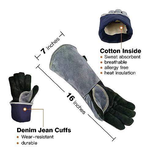 MIG TIG ARC Welder Glove Welding Gloves 932℉ Heat Resistant BBQ Gloves Oven Mitt