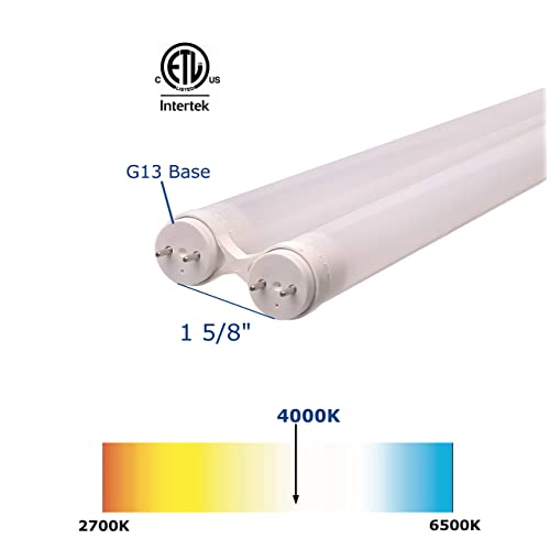 2000 Lumens Dual-End Powered ETL Listed 20W 4-Pack 5000K Daylight Bright LUMINOSUM T8 T10 T12 LED Tube Light 4FT Clear Cover Easy Ballast Removal Installation 40W Equivalent