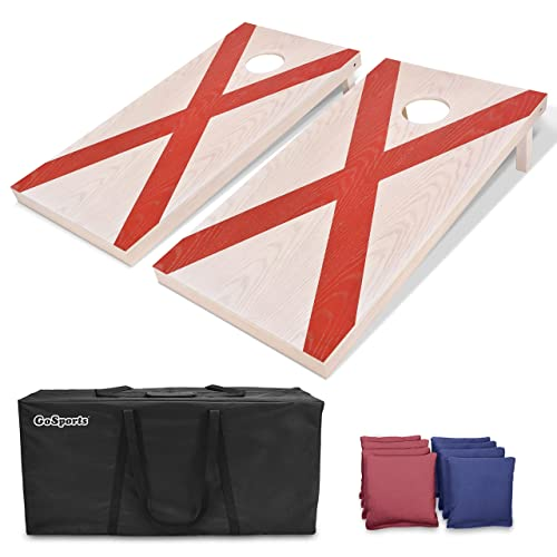 GoSports Light Regulation Size Solid Wood Cornhole Set Includes 8 Bags and Case