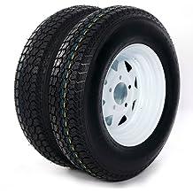 2-Pack Mounted Trailer Tire On Rim H188 ST185//80D13 5-4.5 White Modular Wheel