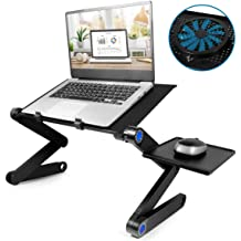 Mouse Pad Cooling Fan Lap Table Bed Tray for Reading Notebook Computer Silver Laptop Stand
