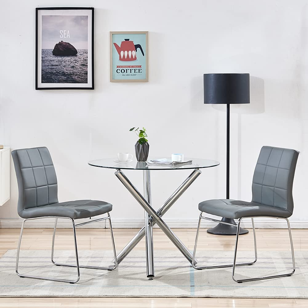 Modern Dining Table Chairs Set,Round Table with Clear Tempered Glass Top+9  Grey Faux Leather Dining Chairs Set for 9 Person,Kitchen Dining Room Table  ...