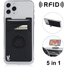 Strong 3M Sticky New 3-in-1 Stick On Wallet for Any Phone Case Finger Strap Unique: Spandex Magnetic Black, 1 Pack Mounts to Magnets RFID Block Double-Pocket