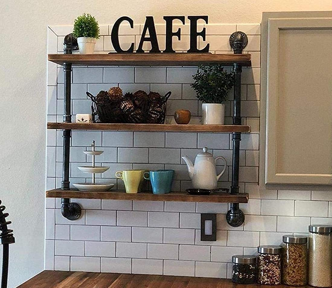 Buy Industrial Pipe Shelves Wall Bookshelf Rustic Wood Shelf ...