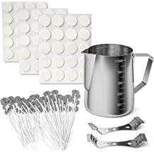 Wicks Sticker 3-Hole Candle Wicks Holder Besswax DIY Candle Craft Tools Including Candle Make Pouring Pot Beeswax Candle Wicks Candles tins and Spoon Candle Making Kit Supplies