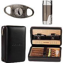 Cohiba Red Leather Adjustable 3 Tube Cedar Wood Travel Cigar Case Humidor