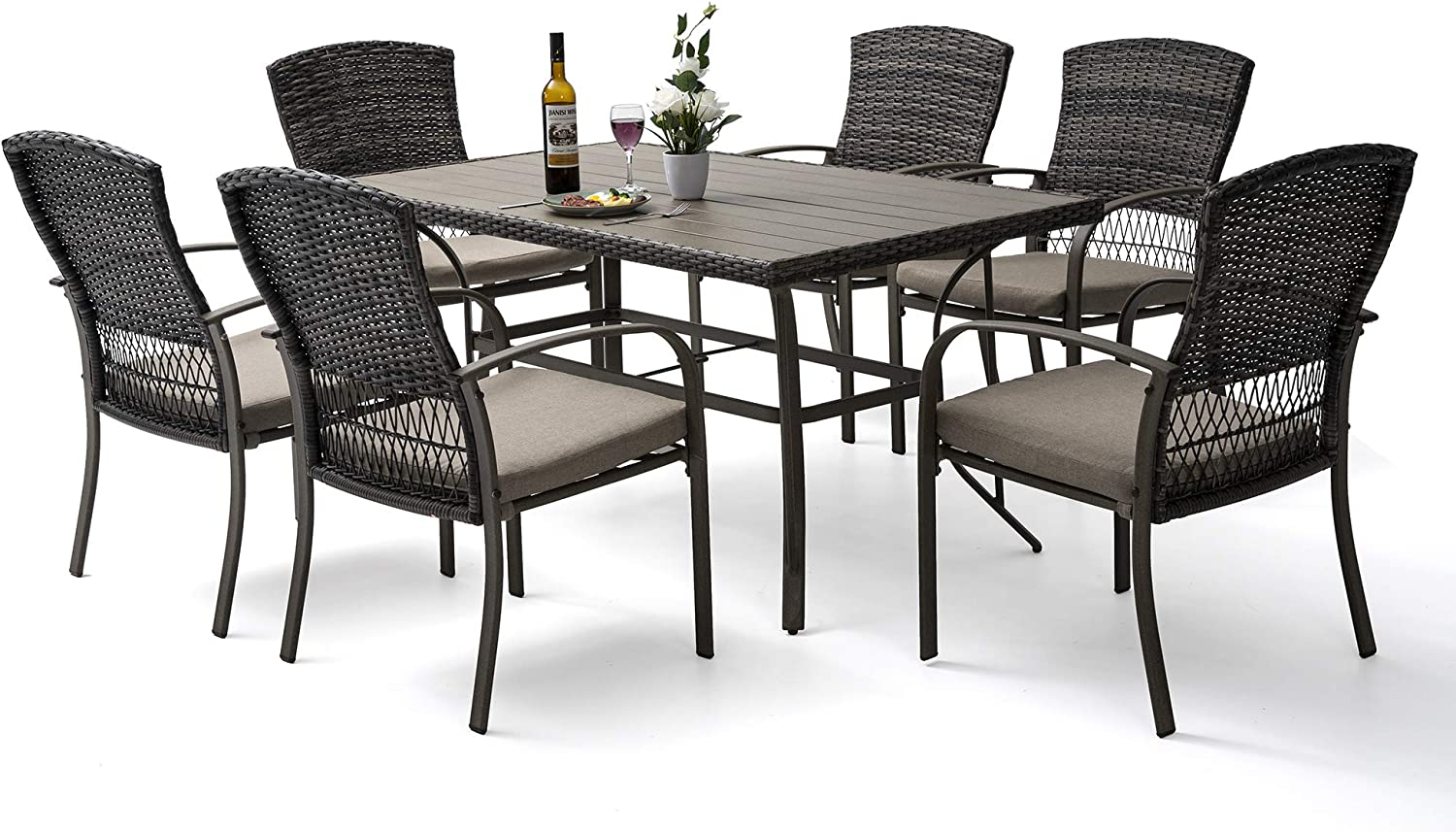 Pamapic 9 Piece Patio Dining Set, Outdoor Dining Table Set, Patio Wicker  Furniture Set for Backyard Garden Deck Poolside/Iron Slats Table Top, ...